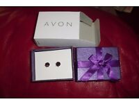 NEW PAIR SILVER PLATED STUD EARRINGS WITH PURPLE STONE IN GIFT BOX