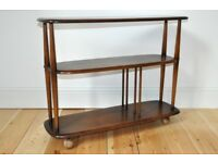 Vintage retro 60's Ercol windsor bookcase shelving unit trolley divider - Old Colonial