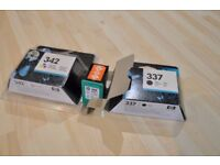 2 colour (342) and 1 black (337) HP printer ink cartridges.