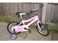Girls Bike, 14 inch Ridgeback Honey Pink, immaculate condition with removable stabilizers