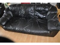 Bargain! Black Leather 3 seater sofa and armchair