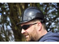Black Vented Safety Helmet, Deluxe safety helmet with 6 point nylon web harness.