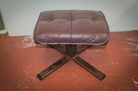 Vintage retro mid century modern Unico leather and walnut footstool