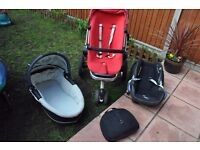 Quinny maxi cosi travel set pushchair/ pram with car seat, adapters and travel carry cot