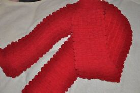 Hand Made Red Bubble Knitted Scarf --- ideal xmas present !