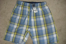 "BRAND NEW WITH TAGS ""BHS"" PAIR MEN'S/BOYS BLUE CHECK LOUNGE SHORTS"