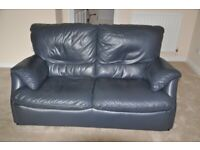 Lovely Italian Dark Blue Leather Two Seater Sofa by Natuzzi