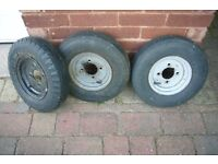 TRAILER WHEELS WITH TYRES - 8in - 3OFF