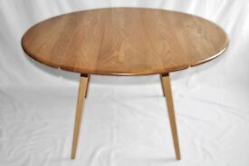 Vintage Retro 60's Ercol Oval / Circular Drop Leaf / Extending Plank Table