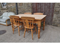 solid pine 5ft farmhouse kitchen table and 4 chairs