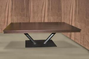 Modern Solid Cherry Dining Table with Metal Base - 108""