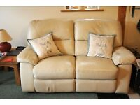 2 seater leather style reclining sofa