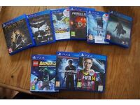 Playstation 4 + 2 controllers +9 games( Uncharted 4, Batman)