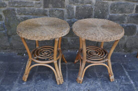 pair of round cane tables conservatory tables lamp tables