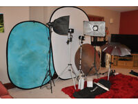 Photography studio equipment. Lighting and background