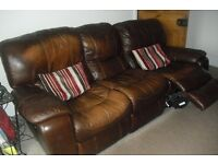 Brown leather 3 seater - electric recliner
