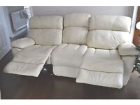 FURNITURE VILLAGE 3+2 SEATER LEATHER CREAM MANUAL RECLINERS - FREE DELIVERY SOME AREAS - £475