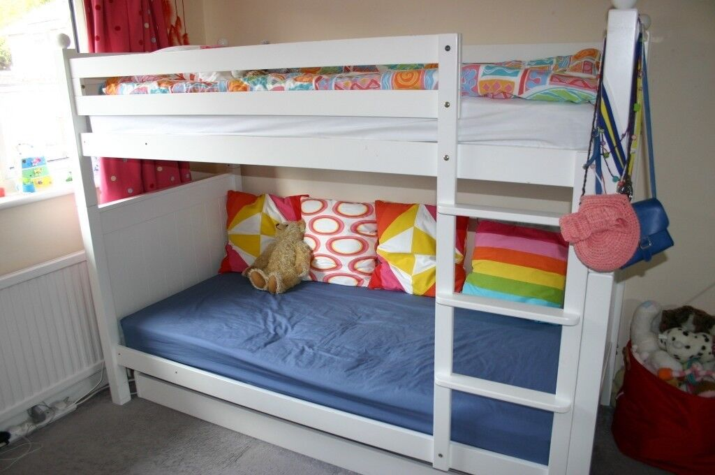 Aspace Solid Wood Bunk Beds With Trundle And Mattresses In Hitchin