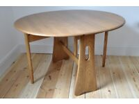 Vintage Retro 60's style Ercol gate leg oval circular table (model 1156)