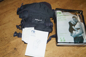 Mothercare 2 position baby carrier in carry bag and instruction, head hugger and dribble bibs incl.