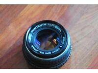 Pentax 50mm 1.7 k mount prime lens
