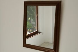 Bevelled Wood Framed Mirror 15 x 19 inches Frame 2 inches Nice Condition