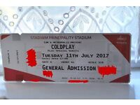 FACE VALUE Coldplay Ticket 11th July, General Admission