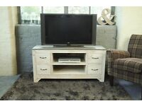 Rough Sawn TV Unit with Concrete Effect Top - New - Free Delivery