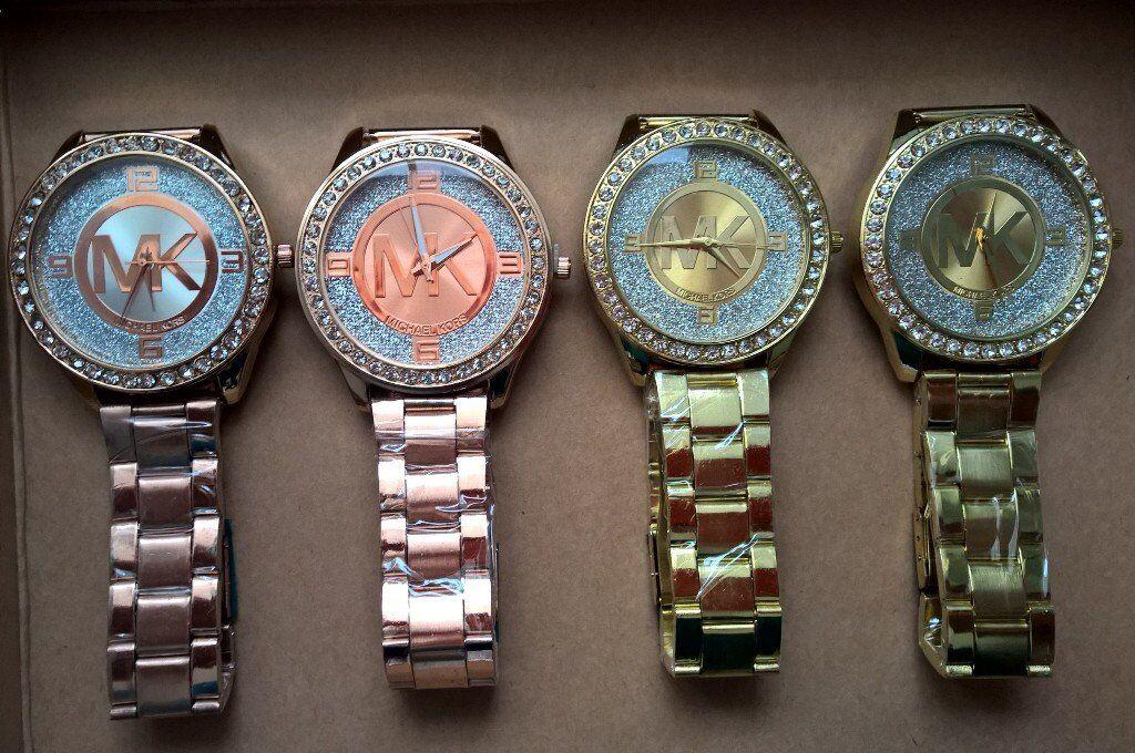 24f792f09ccf Job Lot Bundle 4 x MK Michael Kors Rose Gold   Gold Diamante Glitter Bling  Watches