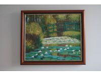 *** Oil Painting Hand Painting Reproduction of Water Lily Pond of Monet - Mahogany Frame ***