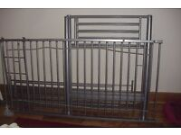SINGLE SILVER GREY METAL MID SLEEPER WITH LADDERS (NO MATTRESS)
