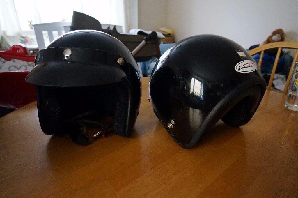 2x Spada open-face motorcycle helmet