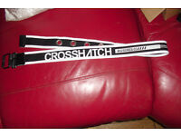 "NEW MEN'S ""CROSSHATCH"" BLACK/WHITE CANVAS BELT 34"" WAIST"