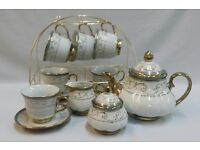 15PC PORCELAIN CHINA TEA SET GOLD WITH /BLUE GRAY FLOWER DESIGN & DISPLAY STAND