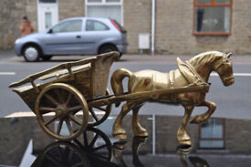 vintage heavy brass horse and cart