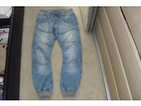 "SIZE 32R PAIR MEN'S ""CROSSHATCH"" STONE WASH STRAIGHT LEG JEANS WITH CUFFS AT BOTTOM"
