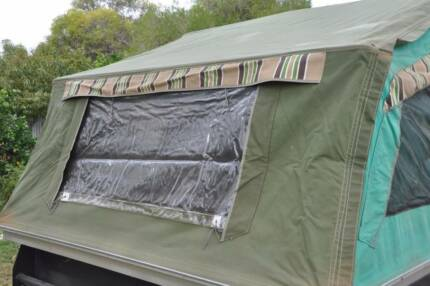 Cameron Canvas camper trailer with  annexe pegs and poles.