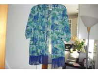 NEW IN BAG SIZE 12/14 AQUA PRINT KIMONO GREAT FOR THE HOLIDAYS OVER SWIMWEAR