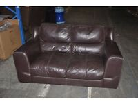 2 Seater & 3 Seater Leather Sofa Living Room Furniture Suite Brown (Sold Together)