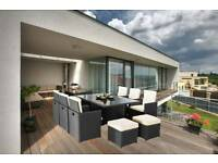 11PC CUBE RATTAN GARDEN FURNITURE SET WITH HIGH FLIP DOWN BACK