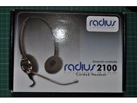 new. Radius 2100 Corded Headset With Microphone