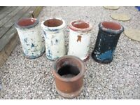 FIVE CHIMNEY POTS/GARDEN PLANTERS