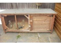 "LARGE RABBIT HUTCH IN EXCELLENT CONDITION LENGTH 64"" WIDTH 28"" WITH BOTTLES, FOOD DISH"