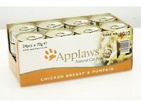 HALF PRICE LUXURY CAT FOOD!! Brand New Case of Applaws Chicken & Pumpkin cans - 24 tins