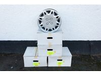 """Set of 4 x 14"""" Renault steel wheels and wheel trims - Very little use"""