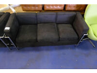 Child Size Black Fabric 3 Seater Settee in the style of Le Corbusier in Used Condition (2 Available)