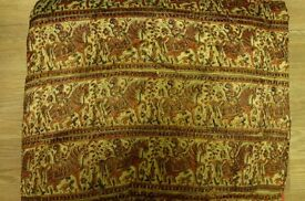 Indian padded block printed double bedspread or large throw or door curtain (number two)