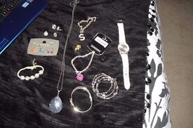 SELECTION OF COSTUME JEWELLERY WATCH, EARRINGS, BRACELETS, BANGLES,RING