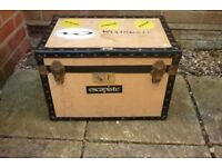 wood and black storage chest trunk case