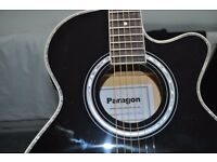 ELECTRO ACOUSTIC GUITAR BLACK, WITH MOTHER OF PEARL BINDING, BRAND NEW AMP, PADDED GIG BAG, LEAD
